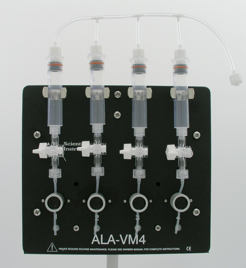 four channel pressurized perfusion valve manifold